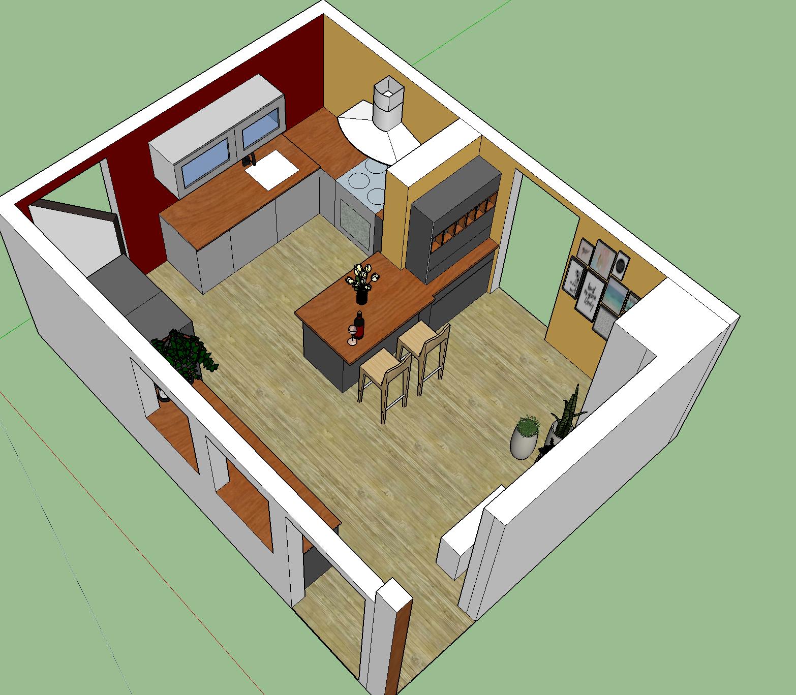 scetch up ontwerp keuken